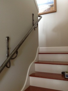 Custom staircase railing and anchor brackets for Hood Canal home.